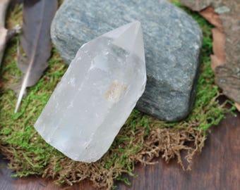 Clear Quartz Crystal Point 224g, Polished Quartz Point, Raw Crystal Point, Clear Crystal Generator, Crystal Grid, Altar Crystal, Tarot