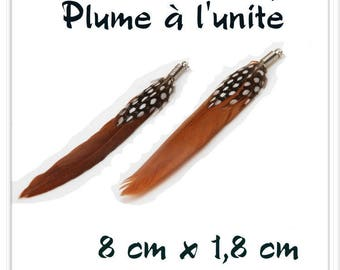 Brown black white l ' single feather pendant