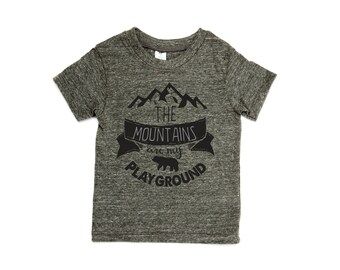 The Mountains are my Playground Tee. Modern tribal baby Shirt, stylish shirt, modern kids clothes, baby, Mountains and Bears