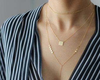 Gold Hammered Pendant Necklace - Delicate Layering Necklace - Gold Bar Necklace - Simple Jewelry - Bohemian Jewelry - Valentine's Day Gift