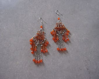 Vintage, orange, Pearl Earrings