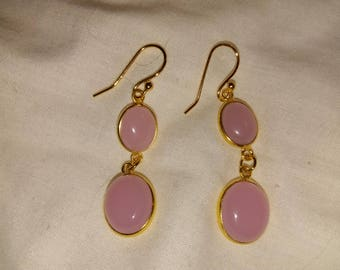Rose Chalcedony Double-Drop Gold-Plated Dangling Earrings