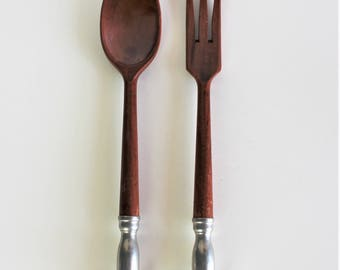 Vintage  Wooden Serving Fork and Spoon With Pewter Handles