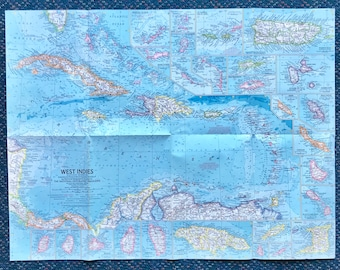 1962 National Geographic Map of The West Indies