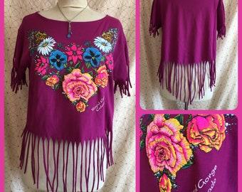 RoyalGorge Colorado - UPCycled - T Shirt - Sweet and Simple Feminine - FRINGE - HANDMADE eco Fashion music festival