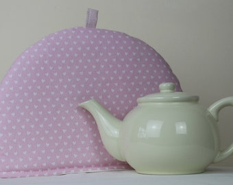 Large Tea Cosy Cozy. Brand New Made in England. White Hearts on Pink Cotton Fabric