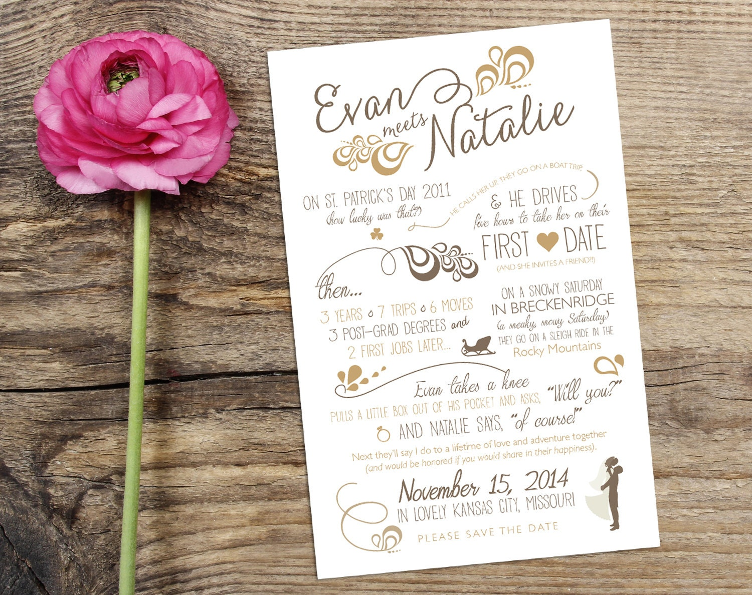 Wedding Love Story Timeline Save the Date Design with Custom