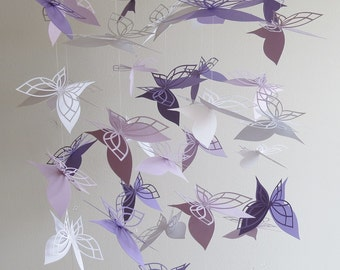 Butterfly Mobile- Lavender Mobile, Nursery Mobile, Baby Mobile, Hanging Mobile, Chandelier Mobile, Paper Mobile, Gifts For Her, Butterflies