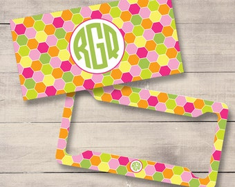 Pink, Green, Orange Geometric License Plate and Frame, Personalized License Plate, Monogram Car Tag, Custom License Plate (0031)