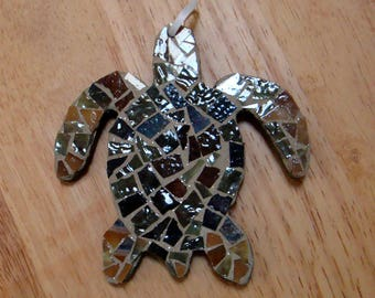 Handmade Mosaic Turtle Ornament Ooak one of A Kind
