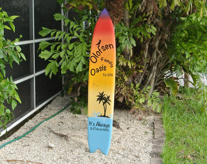 Unique Gift for Dad. Tiki bar Decor. Family Oasis wood sign. Housewarming gift Idea. Beach House wooden gift. Its 5 O'clock somewhere.