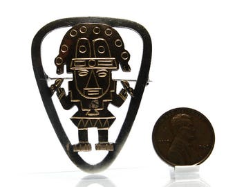 Old Cuzco Peruvian 18K & Sterling Silver Inca God Pendant Brooch Pin