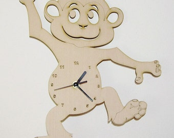 "Wooden wall clock - ""Happy Monkey"""