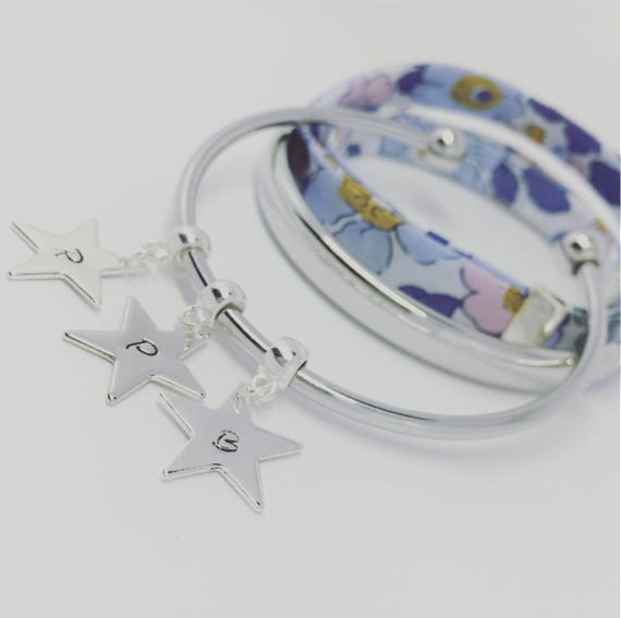 Star Silver Bangle Bracelet personalized jewelry - custom engraved