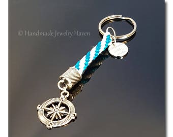 Compass Key Chain, Nautical Key Chain, Surfer Key Chain, Boaters Key Chain, Travelers Key Chain, Yacht Key Chain, Gift For Her, Gift For Him