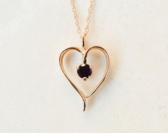 Heart Pendant or Charm, 14k Solid Gold Amethyst Heart Pendant or Charm