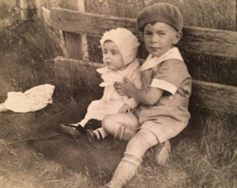 Brother and Sister - Antique Photo - 1920's - Boy and Girl - Baby - Vernacular Photo