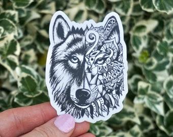 Geometric Wolf Laptop Sticker by Audrey Berris - Black and White Laptop Sticker, Animal Sticker, Wolf Sticker, Wolf Laptop Sticker, Stickers