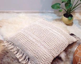 "Macrame floor cushion, large macrame cushion, 30"" x 30"" macrame pillow, bohemian home, bohemian decor, boho decor, macrame decor"