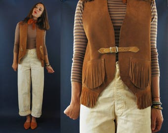 1970s / 1980s Fringe Suede Leather Vest with Buckle