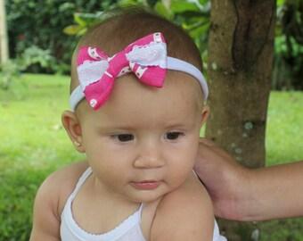 Pink Bow Headband, Baby Bow Headband, Pink Headband, newborn baby bow, Bow Headband, Baby Headband, Pink Bows, Newborn Headband