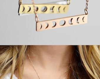 Valentine's Gift Celestial Jewelry Gold Bar Necklace Crescent Moon Necklace Best Friend Gift Sister Gift Ideas