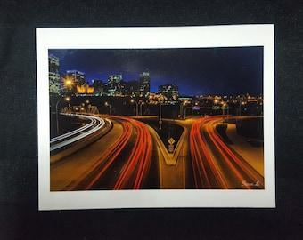 "City of Lights Blank Card 4.25""x5.5"" Edmonton, Alberta, Canada."