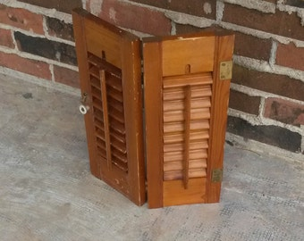 "Wooden plantation shutter set, 7.5x20"".  Any Color."
