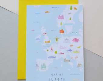 Map of Europe - Greeting Card (Free UK delivery)