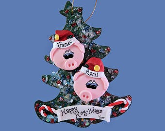 Pig ornament (2) Personalized Family tree
