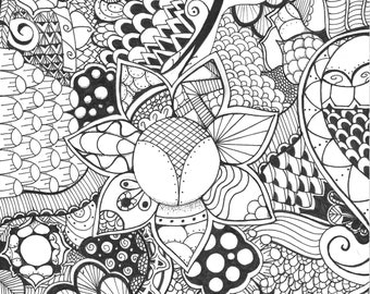Zentangle Drawing For Coloring or Framing