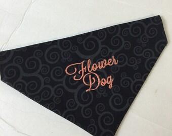 Flower Dog Wedding Dog Bandana, Custom Wedding Dog Bandana, Personalized Dog Bandana, Custom Dog Bandana, Slide on Dog Bandana