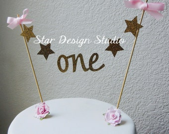 "Star ONE Birthday  Bunting Cake Topper- Cake Topper Gold, Stars, ""One"""