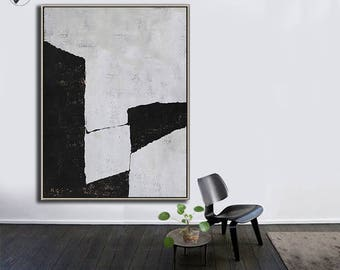 Black White Canvas Art, Large Abstract Art, Vertical Wall Art Contemporary Painting - Ethan Hill Art No.H115V
