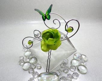 Green Butterfly wedding hair pins