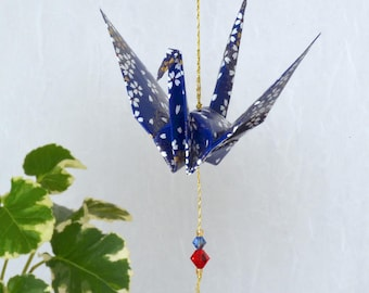 Origami Crane Hanging Ornament - navy blue Japanese paper with flowers, peace crane, hand varnished, on gold string with Swarovski crystals