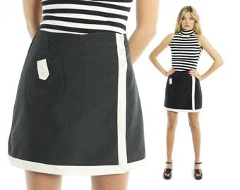 Vintage 60s Mini Skirt Culotte Shorts Skort Black White High Waisted Sailor 1960s Small S Mod Pinup Rockabilly