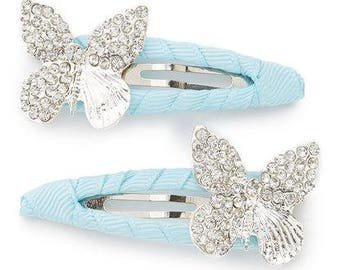 Light Blue Hair Clip with Rhinestone Butterfly