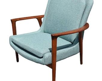 Vintage Danish Mid Century Modern Lounge Teal and Walnut Chair
