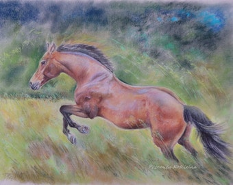 HORSE PAINTING Original equestrian Art Large Realistic pastel drawing Hand drawn Jumping Horse Landscape Expressive Conetemporary Artwork