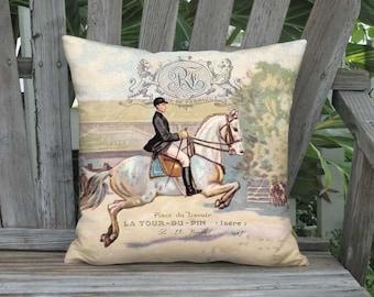 18x18 Inch - READY TO SHIP - Linen Cotton Ballottade Dressage Pillow Cover -  Equine Decor - Equestrian Farmhouse Cushion Cover