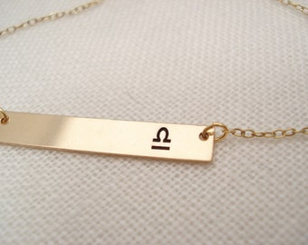 Gold filled Zodiac bar necklace...Personalized Engraved Bar, sorority, best friend gift, wedding, bridesmaid gift