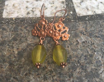 vintage copper findings with olive green diamond shaped India bead earrings copper