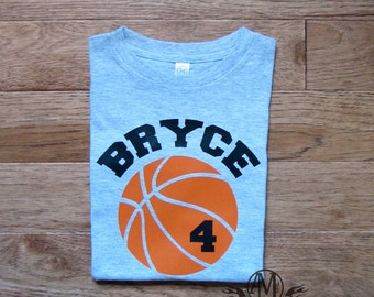 Personalized basketball birthday shirt, boys basketball shirt with name and number, gift for kids