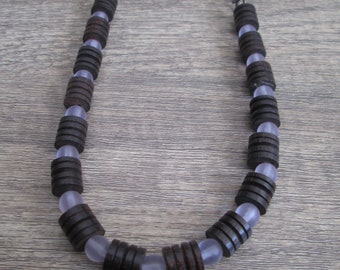 Dark Wood, Lavender and Chain Necklace