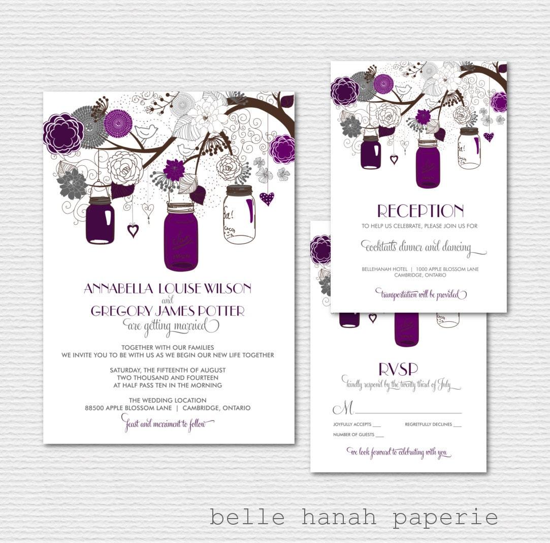 Mason Jars Wedding Invitation Set Purple Wedding Invitation