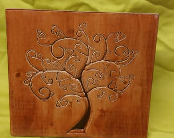 Heart tree wood carved wall hanging