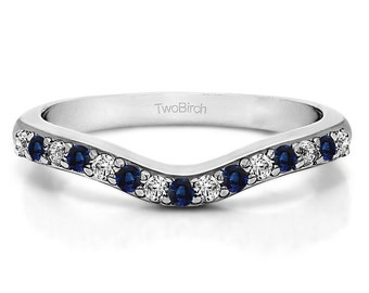 Delicate Curved Wedding Ring Set in 14k Gold with Diamonds and Sapphires (0.24ct) - Wedding Band - Curved Ring - Anniversary Ring