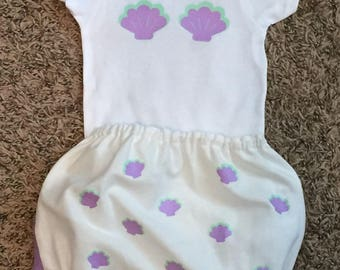 Baby Shell Onesie and Ruffled Diaper Cover Set