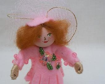 Handmade Felt Doll in Pink, Hanging Ornament, Pink Ballerina Piksee, Felt Art Doll
